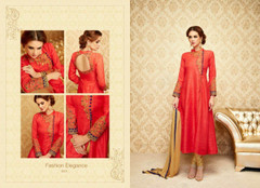 Tomato Red color Full Sleeves Silk Fabric Anarkali style Suit