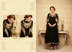 Black color Full Sleeves Georgette Fabric Anarkali style Suit