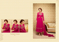 Magenta color Full Sleeves Silk Fabric Anarkali style Suit