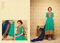 Peacock Green color Full Sleeves Silk Fabric Anarkali style Suit