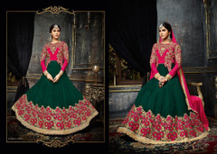 Magenta and Green color Full Sleeves Floor Length Georgette Fabric Anarkali style Suit