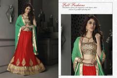 Red color Net Fabric Lehenga Choli