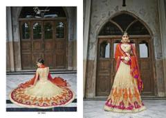 Beige color Net Fabric Lehenga Choli