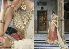Golden and Red color Net Fabric Lehenga Choli