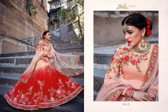 Peach and Red color Net Fabric Lehenga Choli