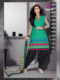 Green and Black color Patiala Suit