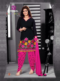 Black and Magenta color Pure Cotton Fabric Patiala Suit