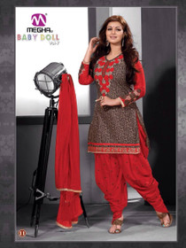 Chocolate and Red color Pure Cotton Fabric Patiala Suit