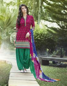 Dark Magenta and Green color Pure Cotton Fabric Ban Neck Design Patiala Suit