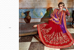 Red and Purple shade Georgette Fabric Saree