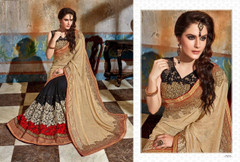 Black and Beige shade Georgette Fabric Saree