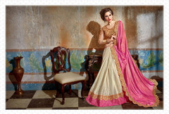 White and Pink shade Net and Silk Fabric Saree