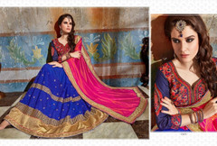 Blue and Magenta shade Georgette and Silk Fabric Saree