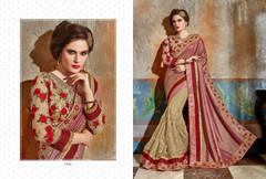 Beige and Onion shade Georgette and Silk Fabric Saree