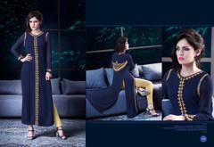 Royal Blue color Georgette Fabric Kurti
