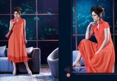 Orange color Georgette Fabric Kurti