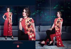 Red color Georgette Fabric Ban Neck Design Kurti