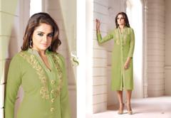 Olive Green color Georgette Fabric Ban Neck Design Kurti