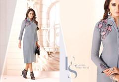 Powder Blue color Georgette Fabric Ban Neck Design Kurti