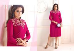 Magenta color Georgette Fabric Ban Neck Design Kurti