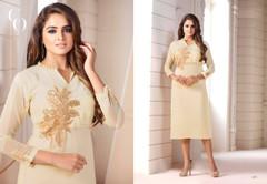 Cream color Georgette Fabric Ban Neck Design Kurti