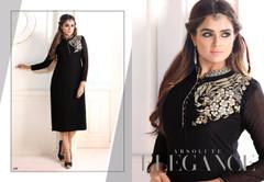 Black color Georgette Fabric Ban Neck Design Kurti