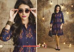 Royal Blue color Cotton Fabric Ban Neck Design Kurti