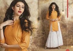 Orange color Cotton Fabric Kurti