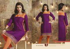 Purple color Cotton Fabric Kurti