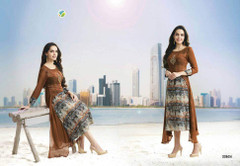 Brown color Cotton and Georgette Fabric Kurti