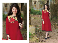 Red color Georgette Fabric Kurti