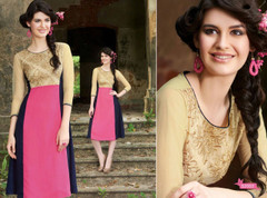 Golden, Pink and Royal Blue color Georgette Fabric Kurti