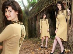 Beige color Georgette Fabric Asymmetrical Kurti