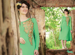 Green color Georgette Fabric Kurti