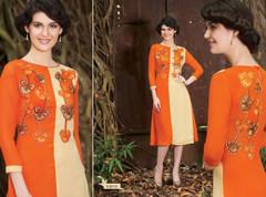 Orange and Cream color Georgette Fabric Kurti