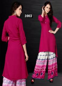 Magenta color Cotton Fabric Ban Neck Design Kurti