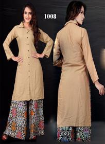 Brown color Cotton Fabric Collar Neck Design Kurti