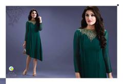 Dark Green color Georgette Fabric Asymmetrical Kurti