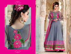 Grey color Net Fabric Full Sleeves Floor Length Anarkali style Suit