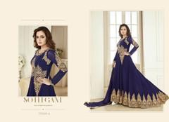 Royal Blue color Georgette Fabric Full Sleeves Floor Length Anarkali style Suit