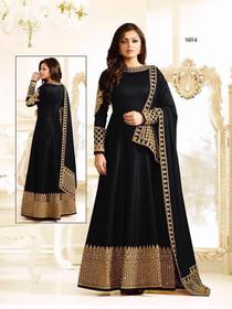 Black color Georgette Fabric Full Sleeves Floor Length Anarkali style Suit