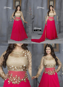 Red and Beige color Georgette Fabric Full Sleeves Floor Length Anarkali style Suit