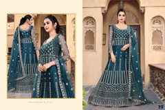 Blue color Net Fabric Full Sleeves Floor Length Embroidered Gown