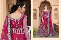 Red color Net Fabric Full Sleeves Floor Length Embroidered Gown