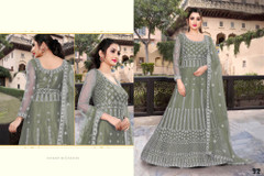 Light Cardamom Green color Net Fabric Full Sleeves Floor Length Embroidered Gown