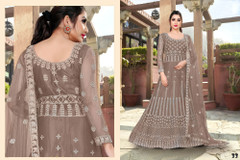 Coffee color Net Fabric Full Sleeves Floor Length Embroidered Gown