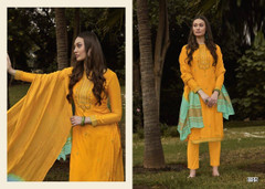 Yellow color Muslin Fabric Suit