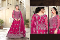 Magenta color Net Fabric Full Sleeves Floor Length Embroidered Gown