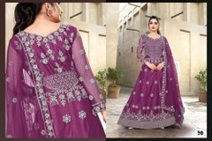 Purple color Net Fabric Full Sleeves Floor Length Embroidered Gown