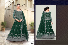 Green color Net Fabric Full Sleeves Floor Length Embroidered Gown